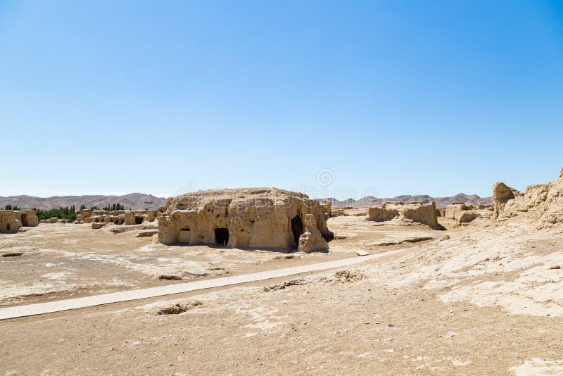 Руины Jiaohe, Turpan, Китай Старая столица королевства Jushi, больше чем 2000 лет стоковые фотографии rf