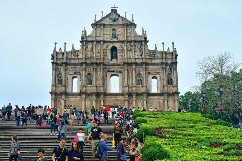 Руины St Paul в историческом старом центре города Макао стоковые изображения