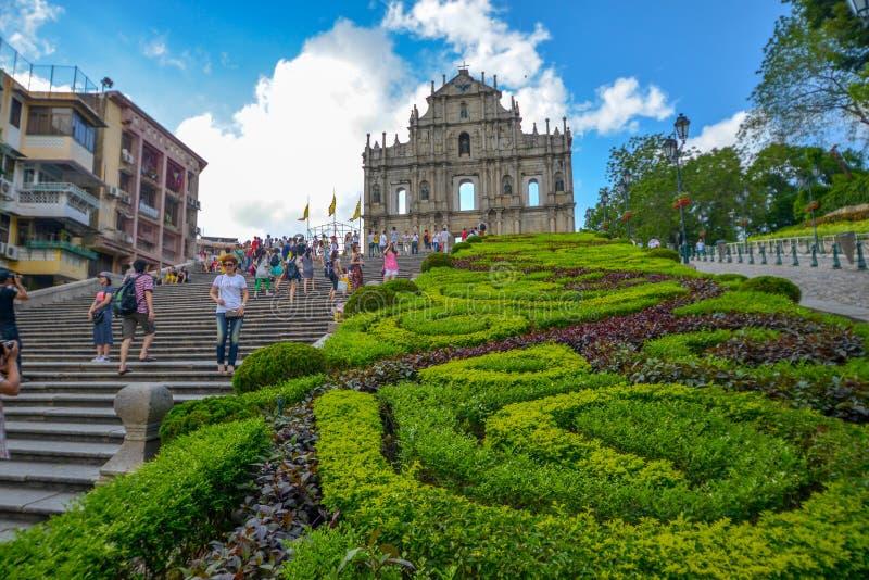 Руины St Paul в Макао стоковая фотография