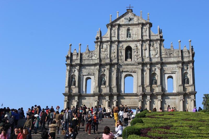 Руины St Paul, Макао стоковое изображение