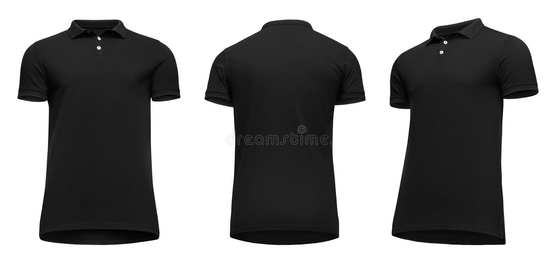 Рукав краткости рубашки поло пустых людей шаблона черный, фронт и поворот заднего взгляда половинный вверх ногами, изолированный  стоковое изображение rf