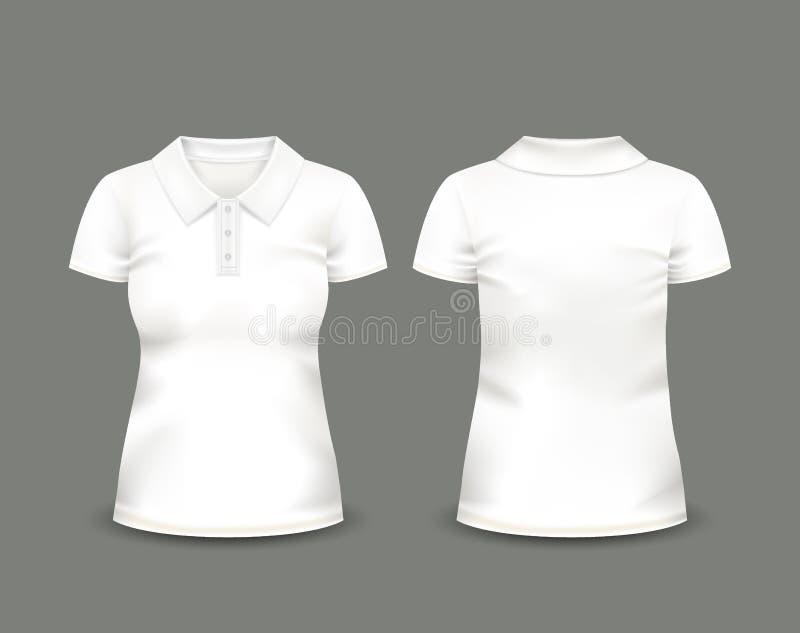Рукав краткости рубашки поло женщин белый в фронте и задних взглядах лавр граници покидает вектор шаблона тесемок дуба Польностью бесплатная иллюстрация