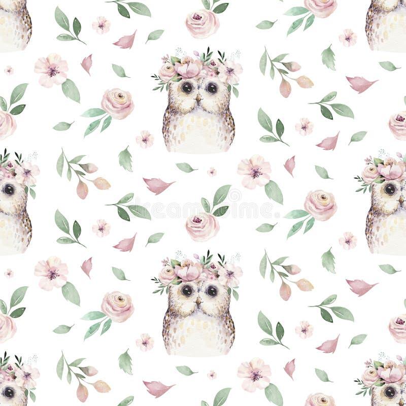 Рука акварели безшовная проиллюстрировала цветочный узор с флористическими лист, розовыми цветками и сычом младенца Весна boho ак бесплатная иллюстрация