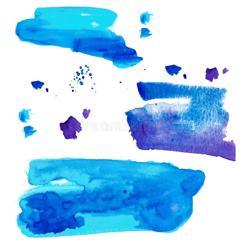 Рука акварели покрасила декоративные текстурированные пятна в голубом цвете иллюстрация штока