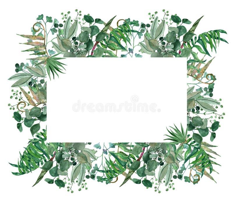 Рука акварели покрасила зеленую рамку, венок лист, шаблон приглашения бесплатная иллюстрация