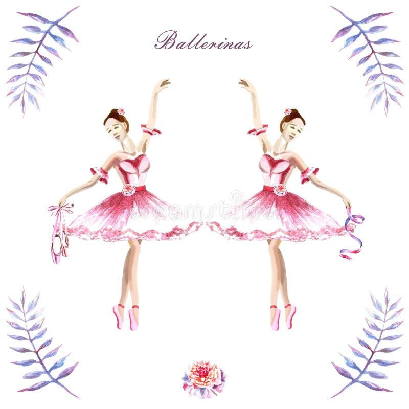 Рука акварели покрасила составы балерин, пионов, хворостин иллюстрация вектора