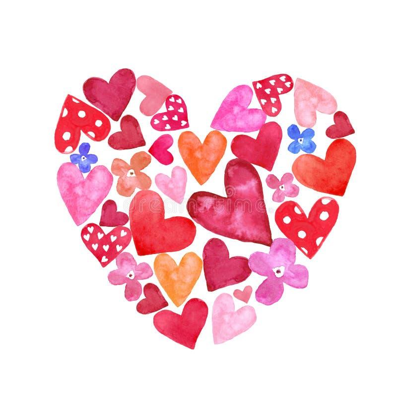 Рука акварели покрасила форму сердца с небольшими красными и розовыми сердцами внутрь Символы дня валентинок бесплатная иллюстрация