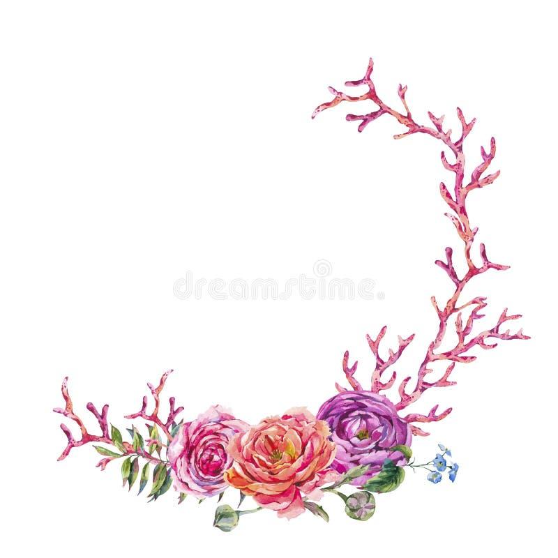 Рука акварели покрасила wteath с розовыми розами, красный коралл изолированный на белой предпосылке иллюстрация вектора