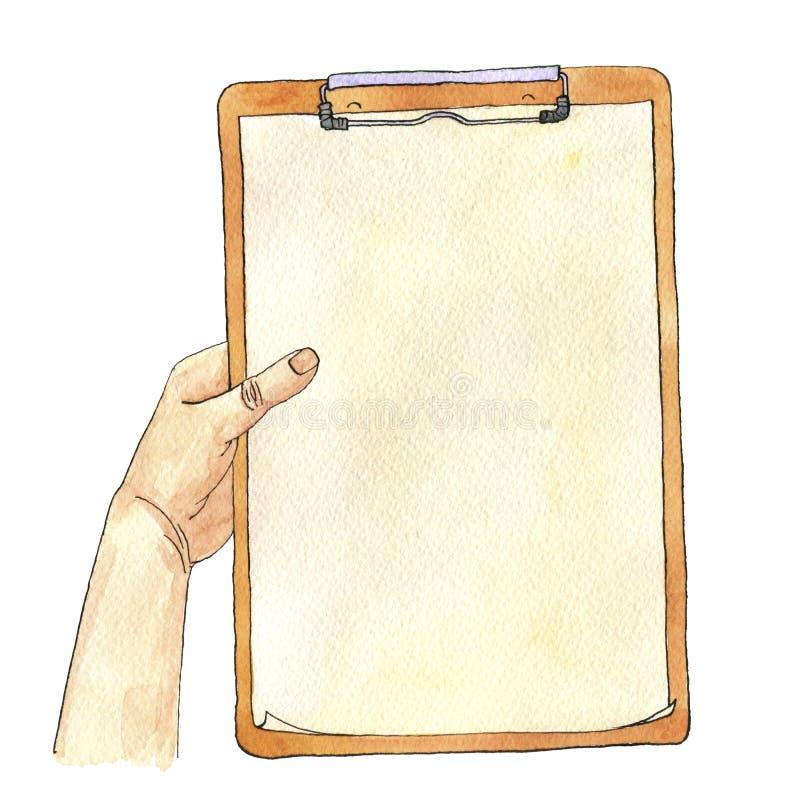 Рука акварели с доской сзажимом для бумаги бесплатная иллюстрация
