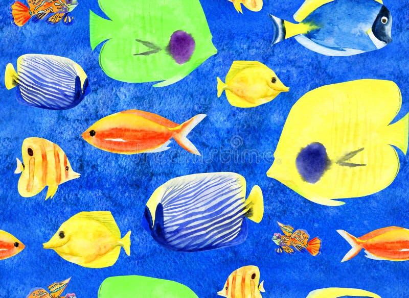 Рука акварели покрасила безшовную картину с рыбами кораллового рифа иллюстрация вектора