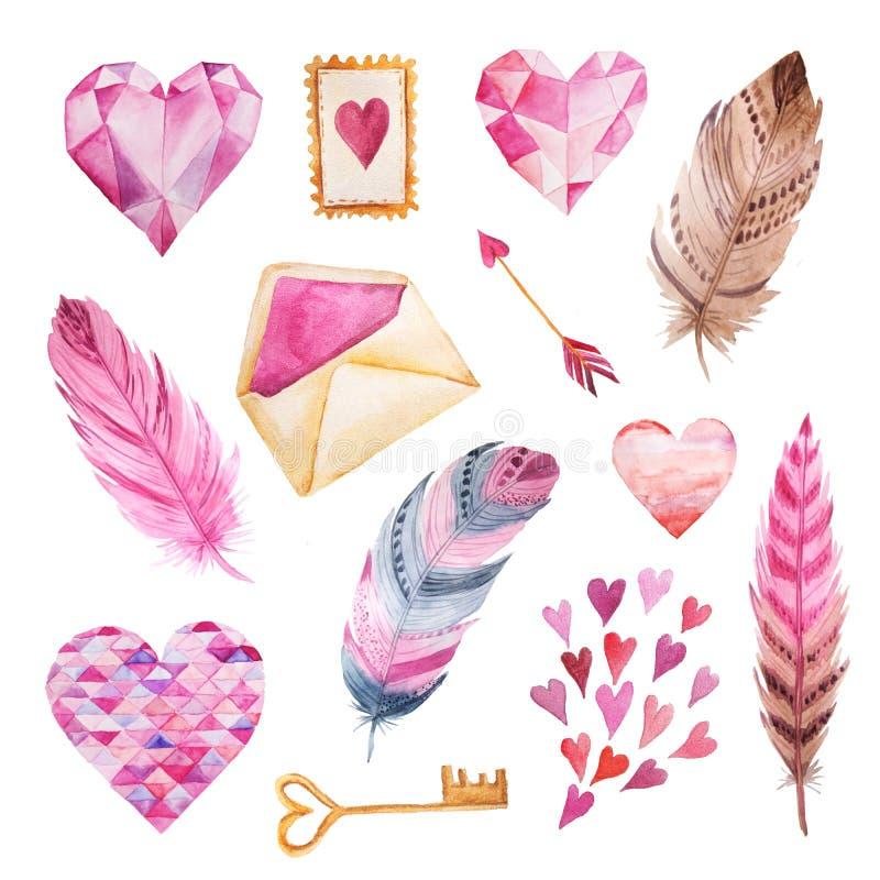 Рука акварели покрасила сердца, конверт, перо иллюстрация штока