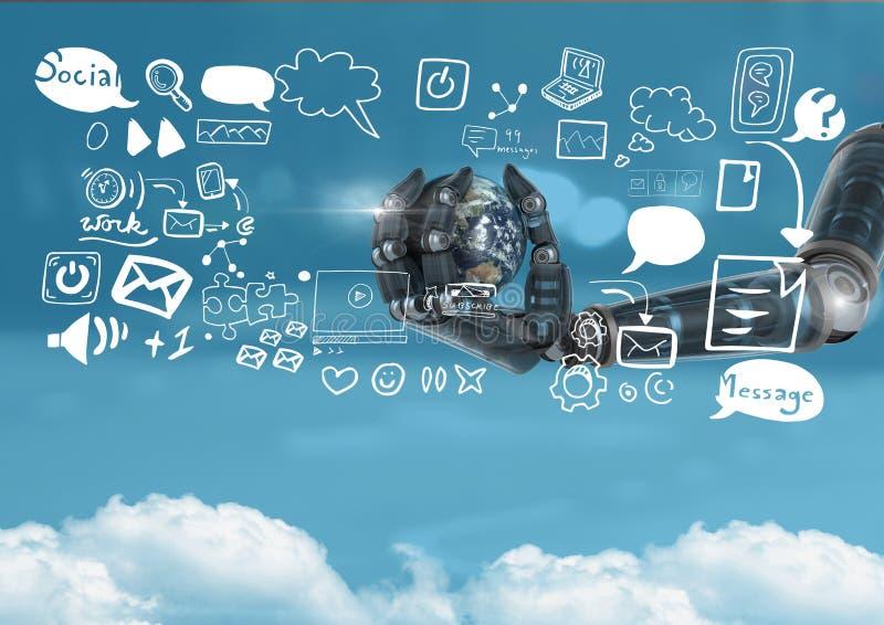Рука андроида держа землю планеты и социальные значки средств массовой информации отправляют СМС с графиками чертежей иллюстрация штока