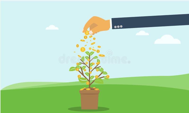 Рука бизнесмена инвестируя дерево монетки денег с чонсервной банкой рост, концепция вклада с стилем плоского и сплошного цвета бесплатная иллюстрация