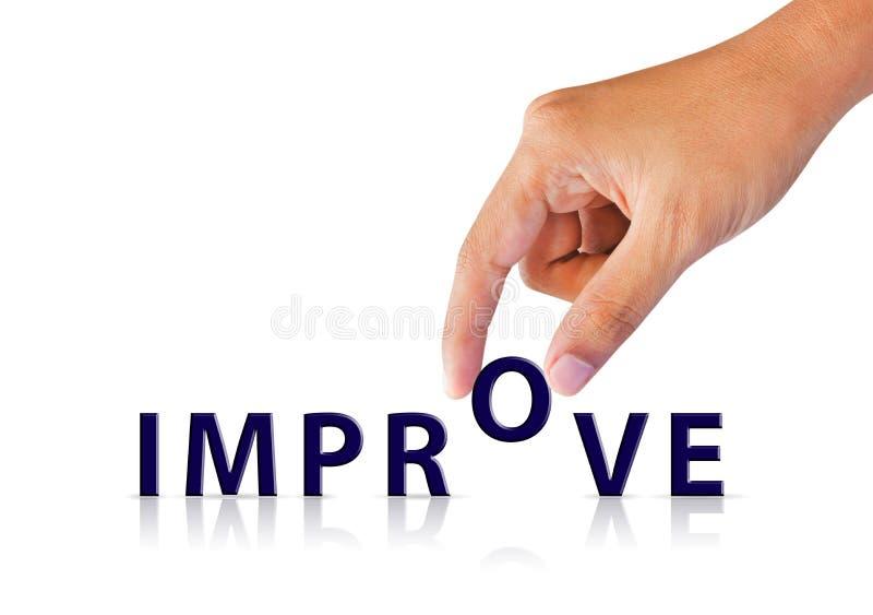 Рука бизнесмена и текст слова улучшить, успешный стоковое фото rf
