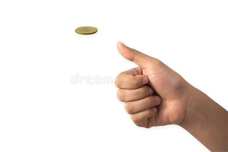 Рука бизнесмена меча золотая монетка на белизне назад стоковая фотография