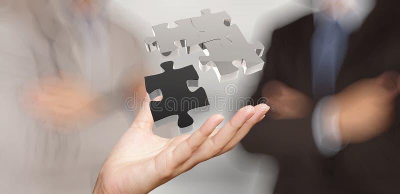 Рука бизнесмена показывая головоломку 3d стоковая фотография rf