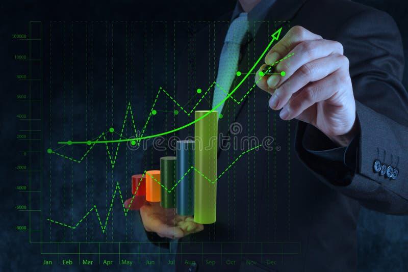 Рука бизнесмена рисуя виртуальное дело диаграммы на экране касания стоковые изображения