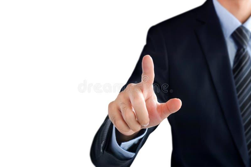 Рука бизнесмена указывая на пустой виртуальный экран стоковые фото