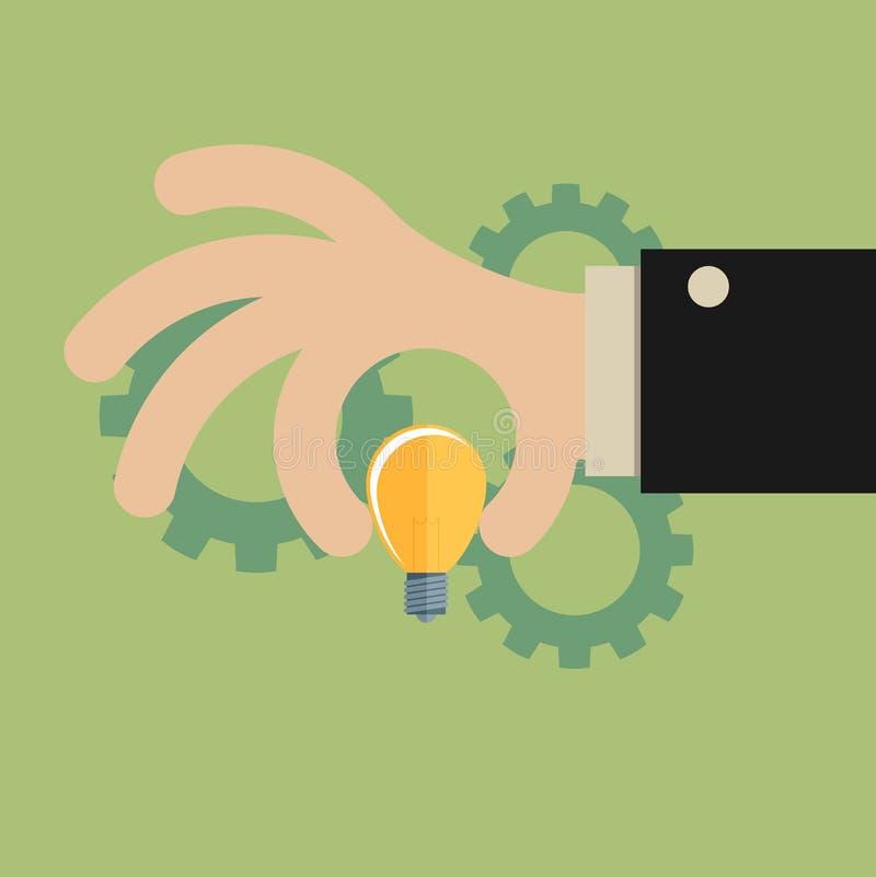 Рука бизнесмена шаржа держа электрическую лампочку идеи, давая идею или иллюстрация вектора