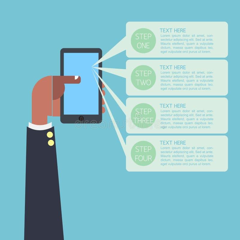 Рука бизнесмена Infographic на smartphone иллюстрация штока