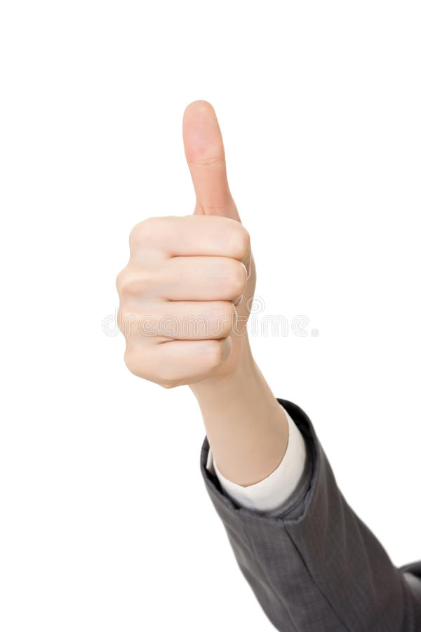 Рука бизнес-леди с большим пальцем руки вверх показывать стоковое изображение