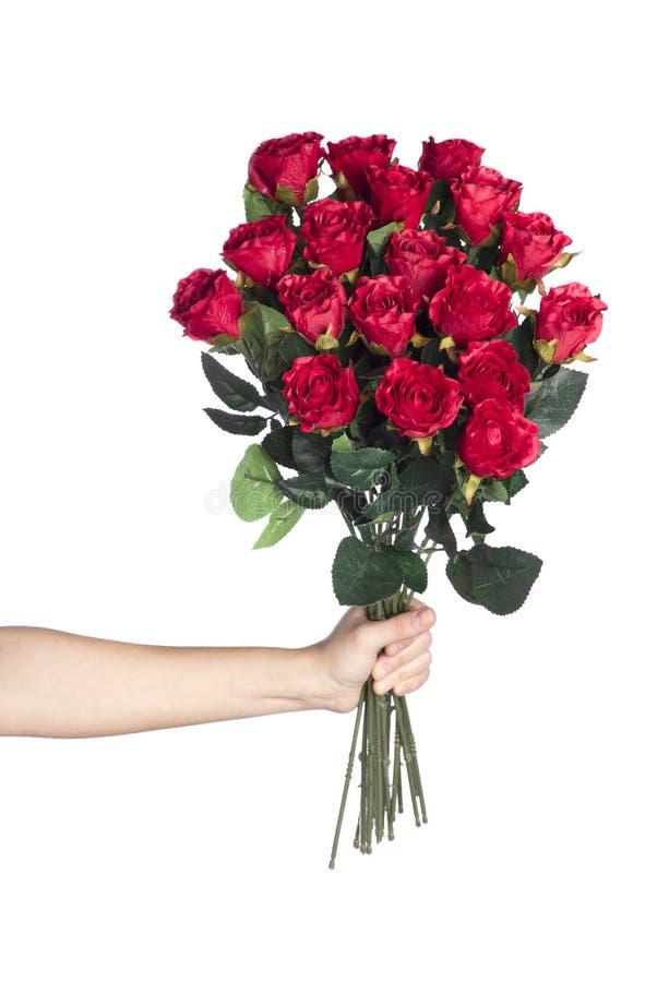 рука букета держа красные розы стоковые фото