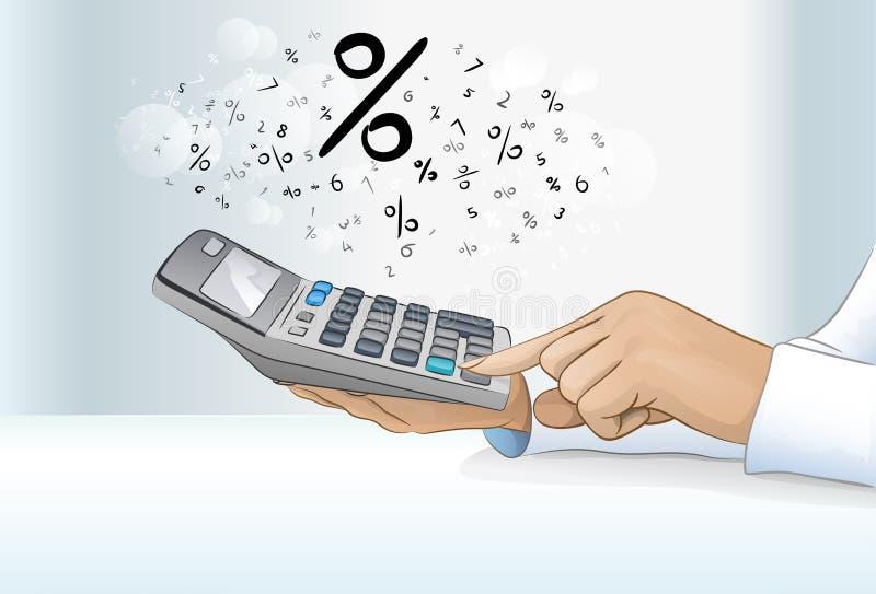 Рука бухгалтера бизнес-леди калькулятора, концепция иллюстрация вектора