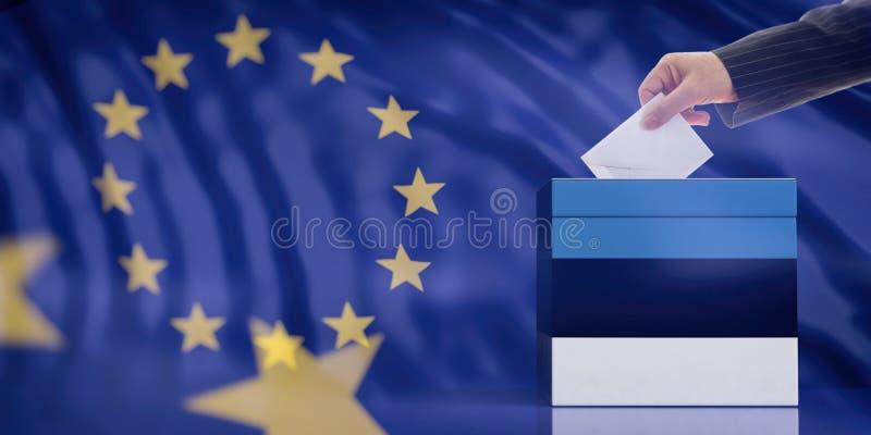 Рука вводя конверт в урну для избирательных бюллетеней флага Эстонии на предпосылке флага Европейского союза иллюстрация 3d стоковые фото