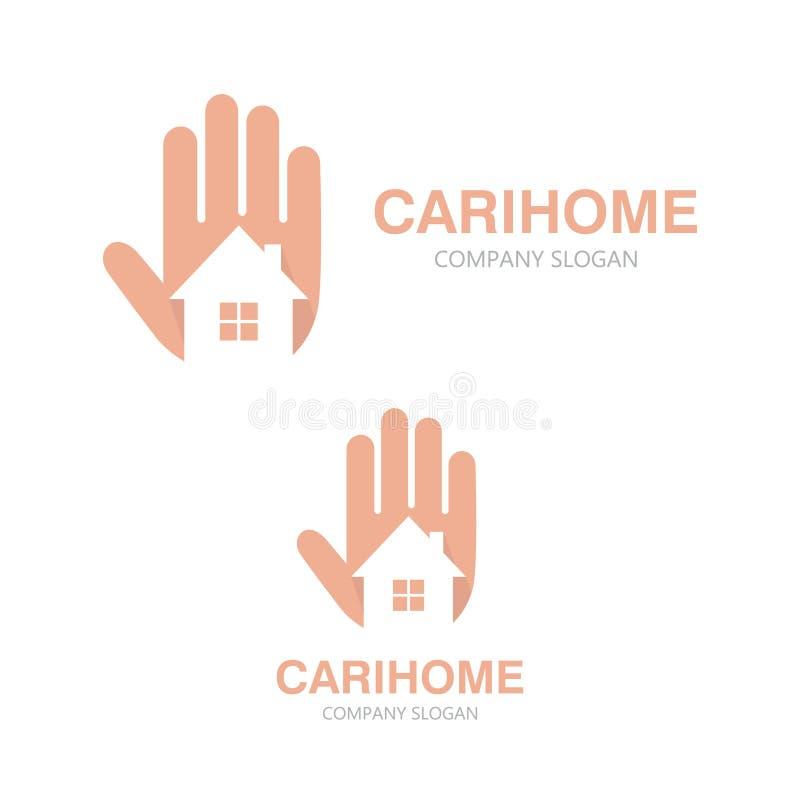 Рука вектора и концепция логотипа дома иллюстрация вектора