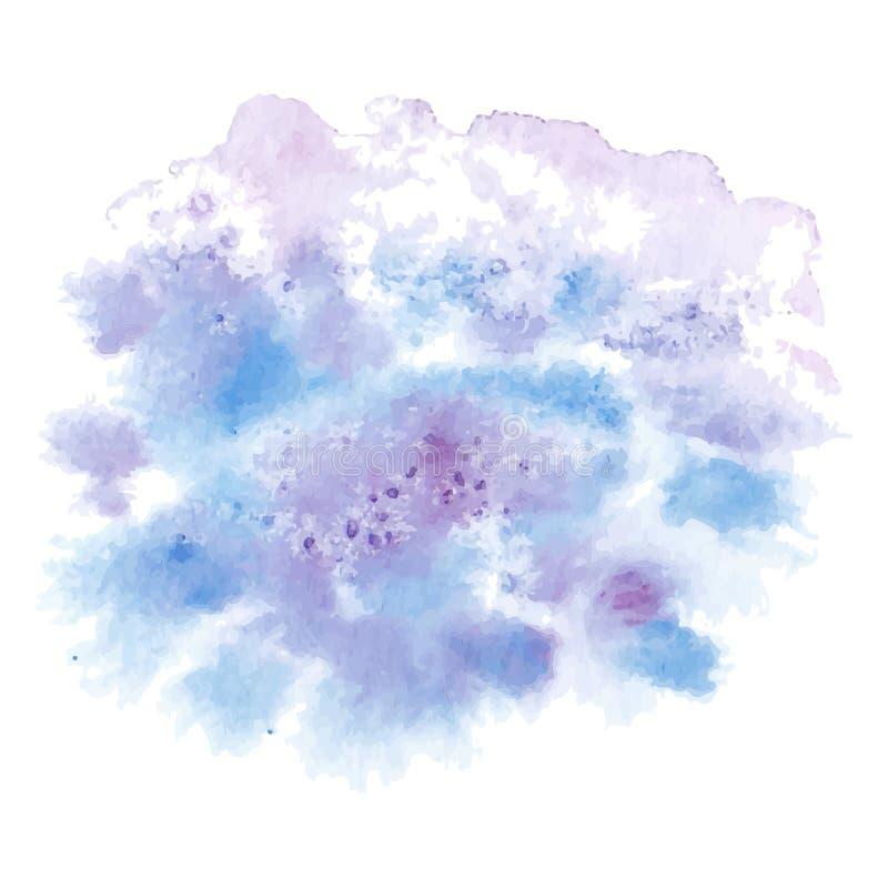 Рука вектора покрасила картину акварели - небесно-голубое пурпурное фиолетовое покрашенное пятно изолированное на белой предпосыл бесплатная иллюстрация