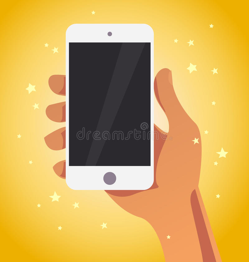 Рука вектора плоская человеческая держа иллюстрацию smartphone иллюстрация штока