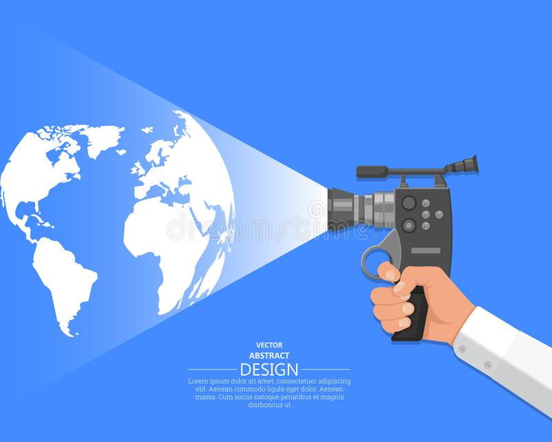 Рука видео- оператора иллюстрация штока