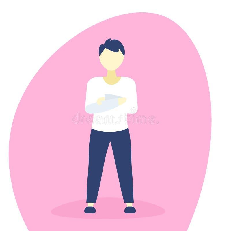 Рука вскользь человека стоящая сложила персонаж из мультфильма руководителя группы бизнесмена представления мужской плоско во всю иллюстрация вектора