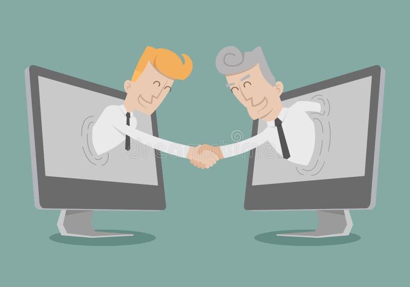 Рука встряхивания бизнесмена, онлайн дело, онлайн маркетинг бесплатная иллюстрация
