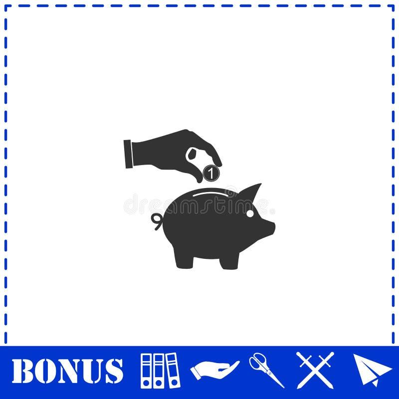 Рука - выбор вниз с монетки в значок денежного ящика свиньи плоско бесплатная иллюстрация