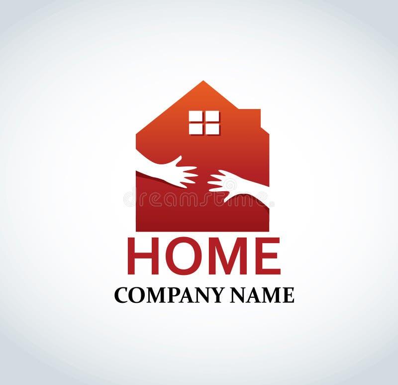 Рука в дизайне логотипа дома для иллюстрации вектора индустрии свойства недвижимости иллюстрация вектора