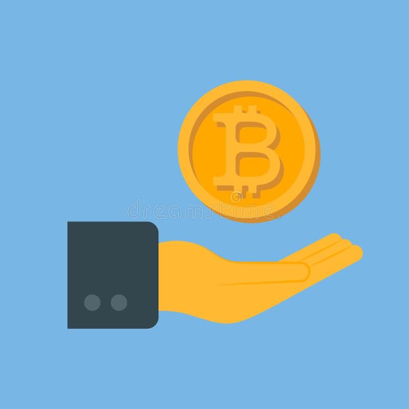 Рука в которую монетка bitcoin падает иллюстрация штока