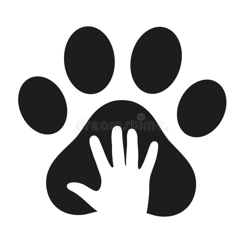 Рука в лапке ` s собаки на белой предпосылке иллюстрация штока