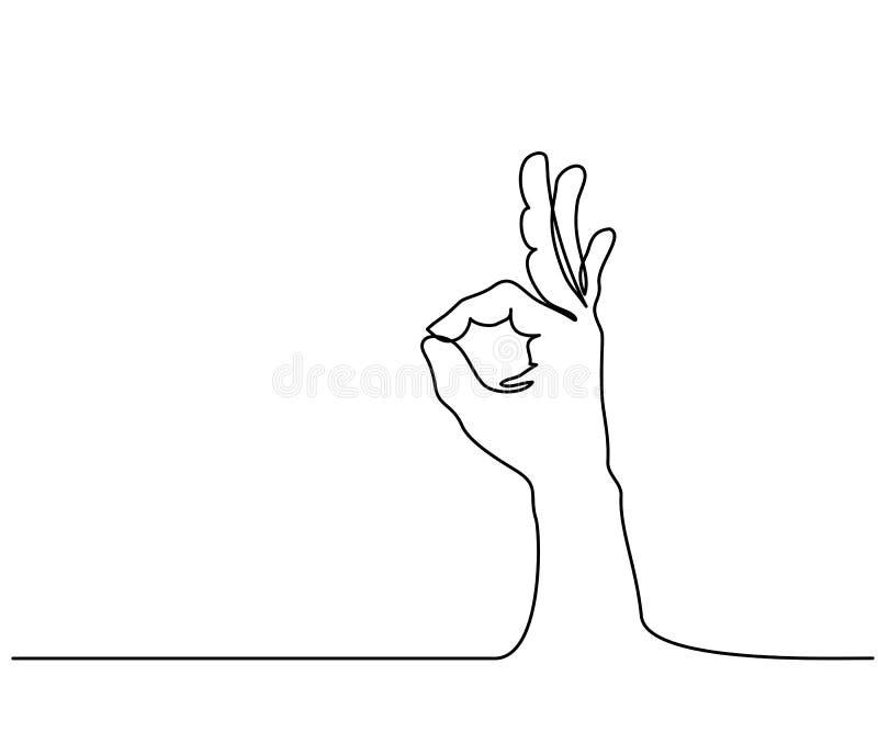 Рука в одобренном знаке на белизне изолировала предпосылку иллюстрация штока