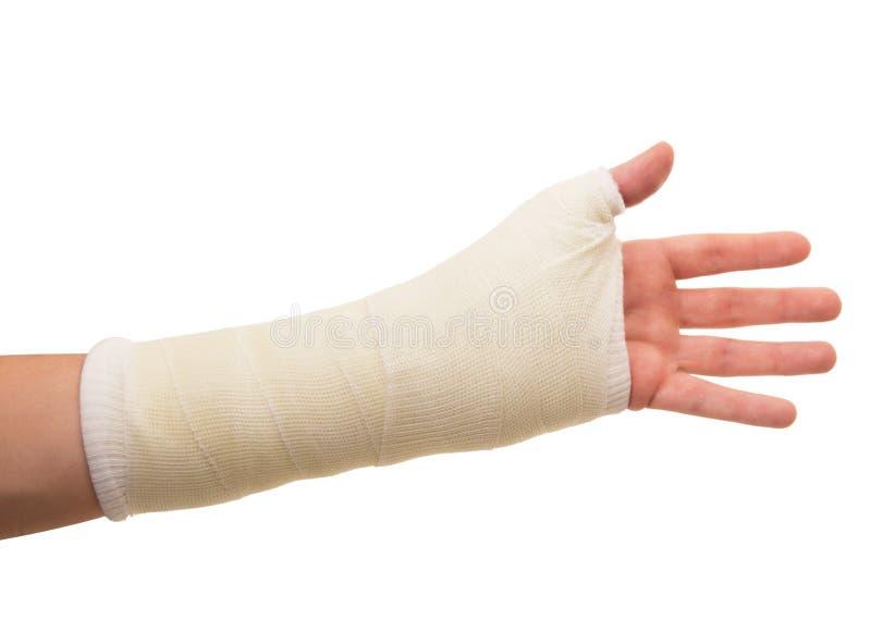 Рука гипсолита на белой предпосылке стоковая фотография
