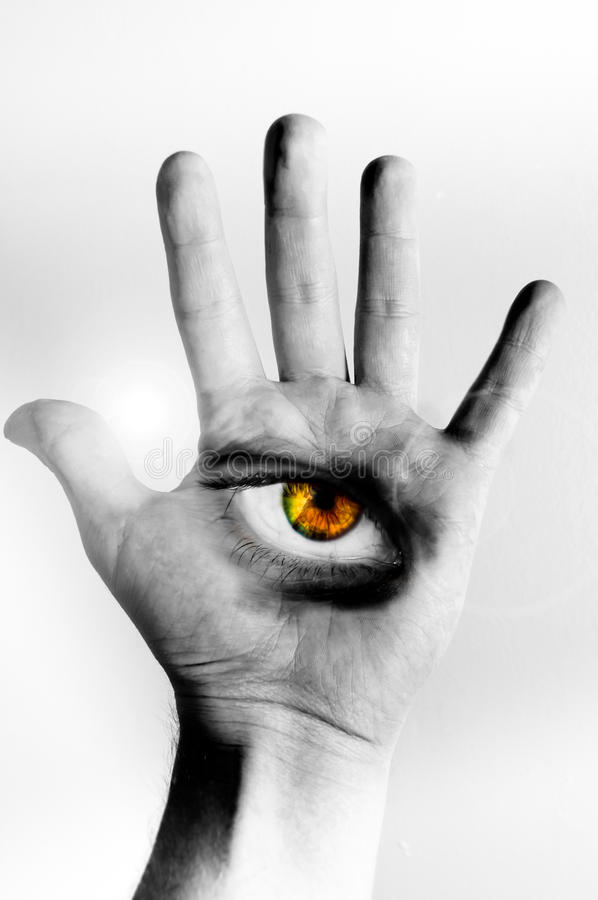 рука глаза стоковое изображение