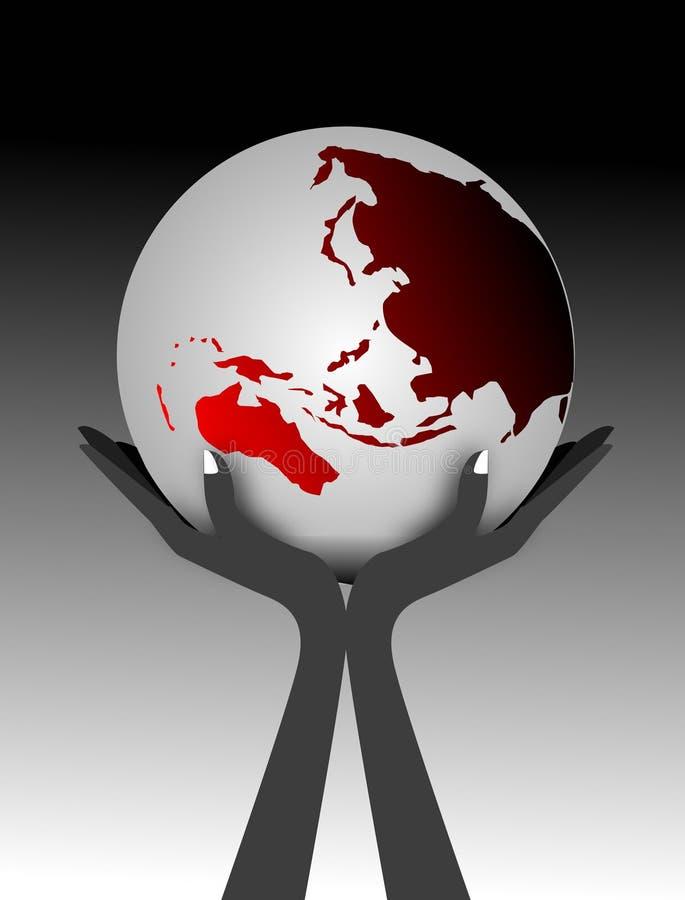рука глобуса иллюстрация вектора