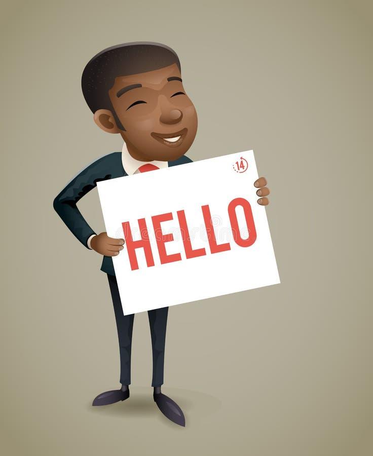 Рука года сбора винограда банка приветствию карточки звонка демонстрации характера бизнесмена Афро представления европейская Афро иллюстрация штока