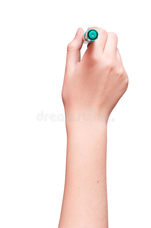 Рука готова для рисовать при зеленая отметка изолированная на белизне стоковая фотография rf