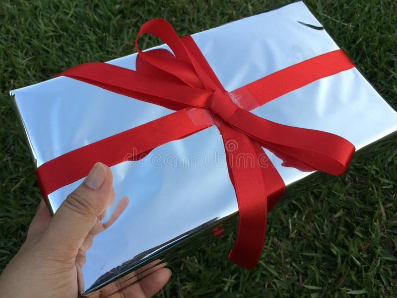 Рука дамы держит подарочную коробку стоковое фото