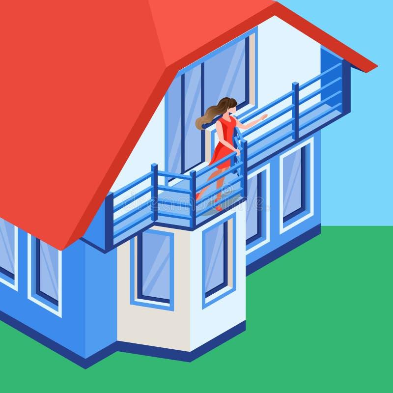 Рука девушки развевая на иллюстрации балкона плоской иллюстрация штока