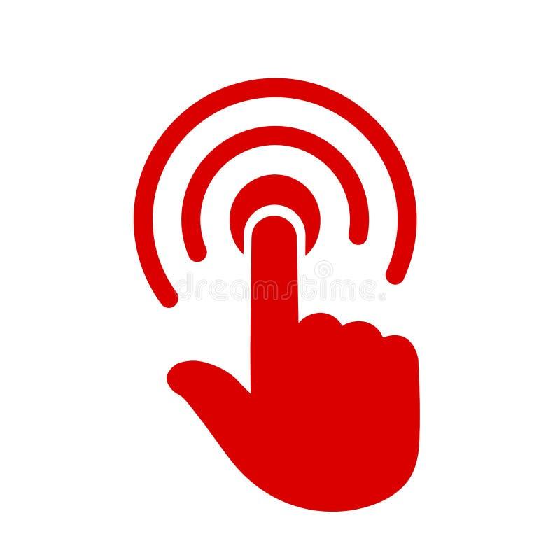 Рука делая значок выбора, вектор †знака нажмите здесь « иллюстрация вектора