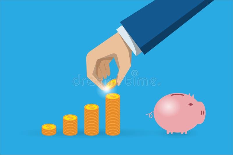 Рука дела держа монетку с стогом монеток и копилкой, концепцией сбережения и инвестирования иллюстрация штока