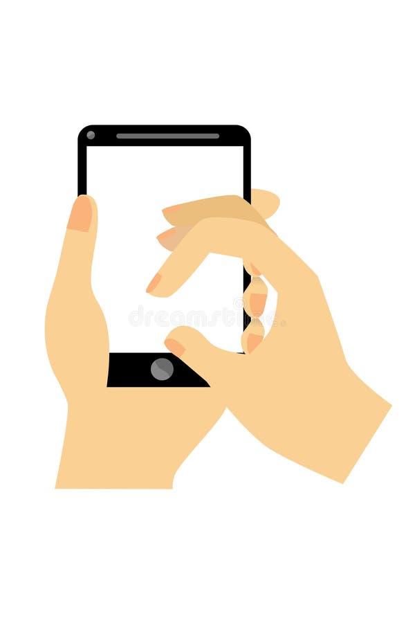 Рука - держащ, удар, касается черному smartphone иллюстрация вектора