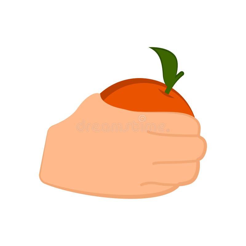 Рука держа апельсин иллюстрация штока